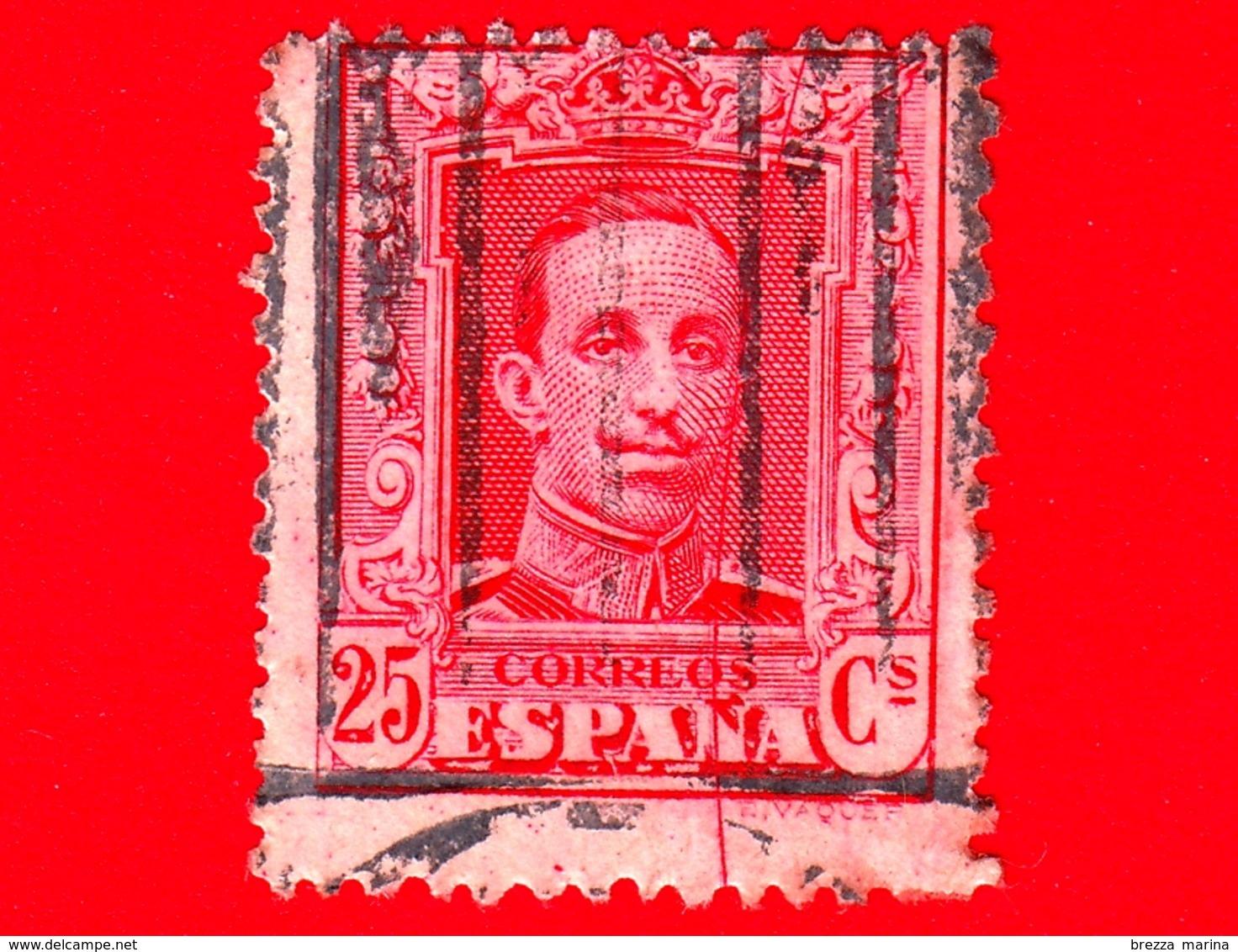 SPAGNA - Usato - 1923 - Re Alfonso XIII - Ritratto Rivolto In Avanti - 25 - 1889-1931 Regno: Alfonso XIII