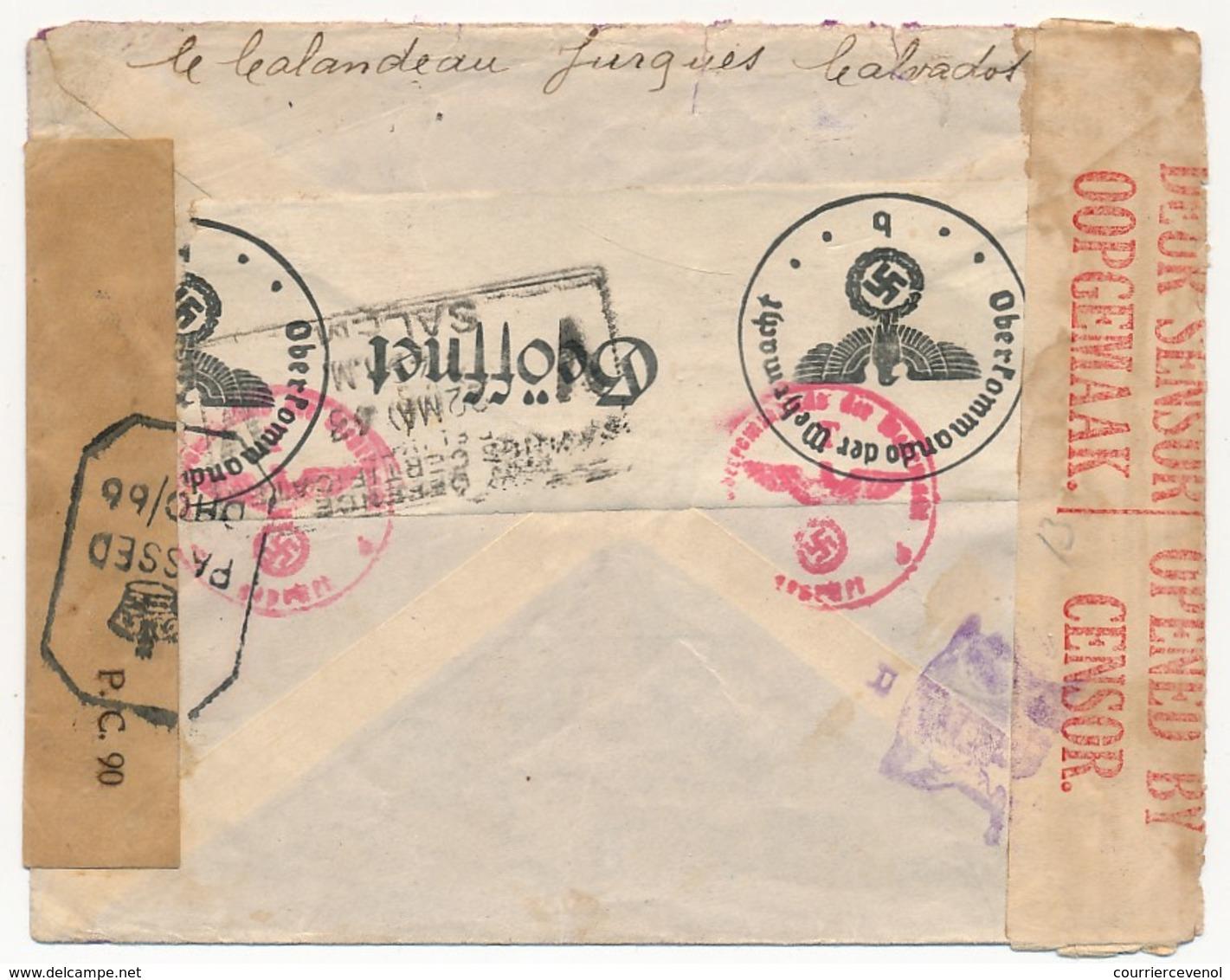 Enveloppe Depuis JURQUES (Calvados) 4F Pétain 18/1/1943 Pour SALEM (Inde Britannique) (4 Mois Et 4 Jours)  Censures - France
