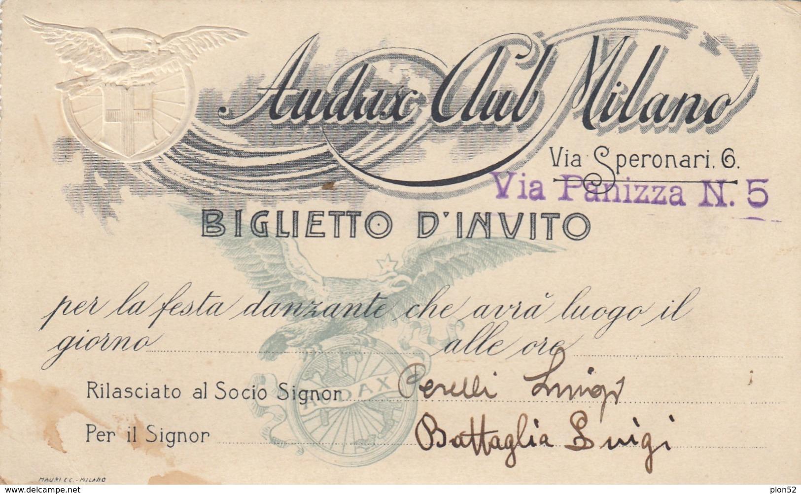 12267-BIGLIETTO D'INVITO-AUDAX CLUB MILANO-FESTA DANZANTE - Biglietti D'ingresso