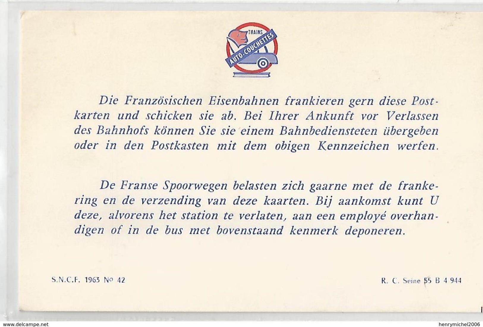Format Cpa Pub Publicité D'affranchissement Cartes Des  Trains Auto Couchettes Sncf 1963- 2 Scans - Chemins De Fer