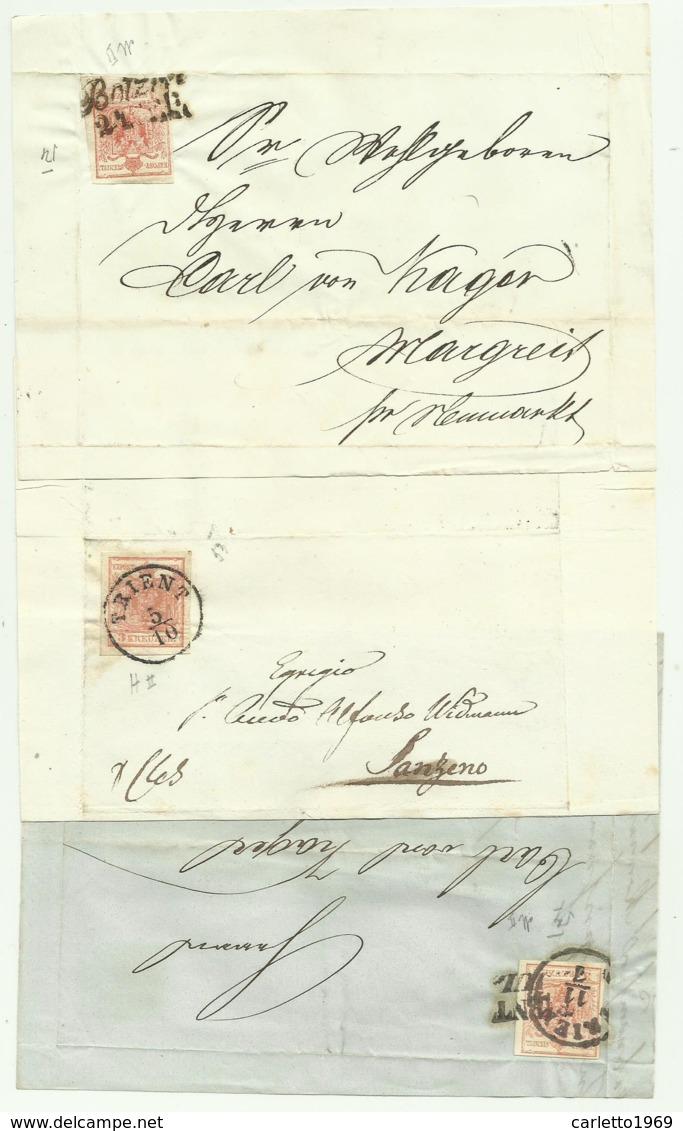 18 FRANCOBOLLI KREUZER - 9 DA 6K E 9 DA 3K -  VARIE LOCALITA' DAL 1852 AL 1858 SU FRONTESPIZIO - Usati