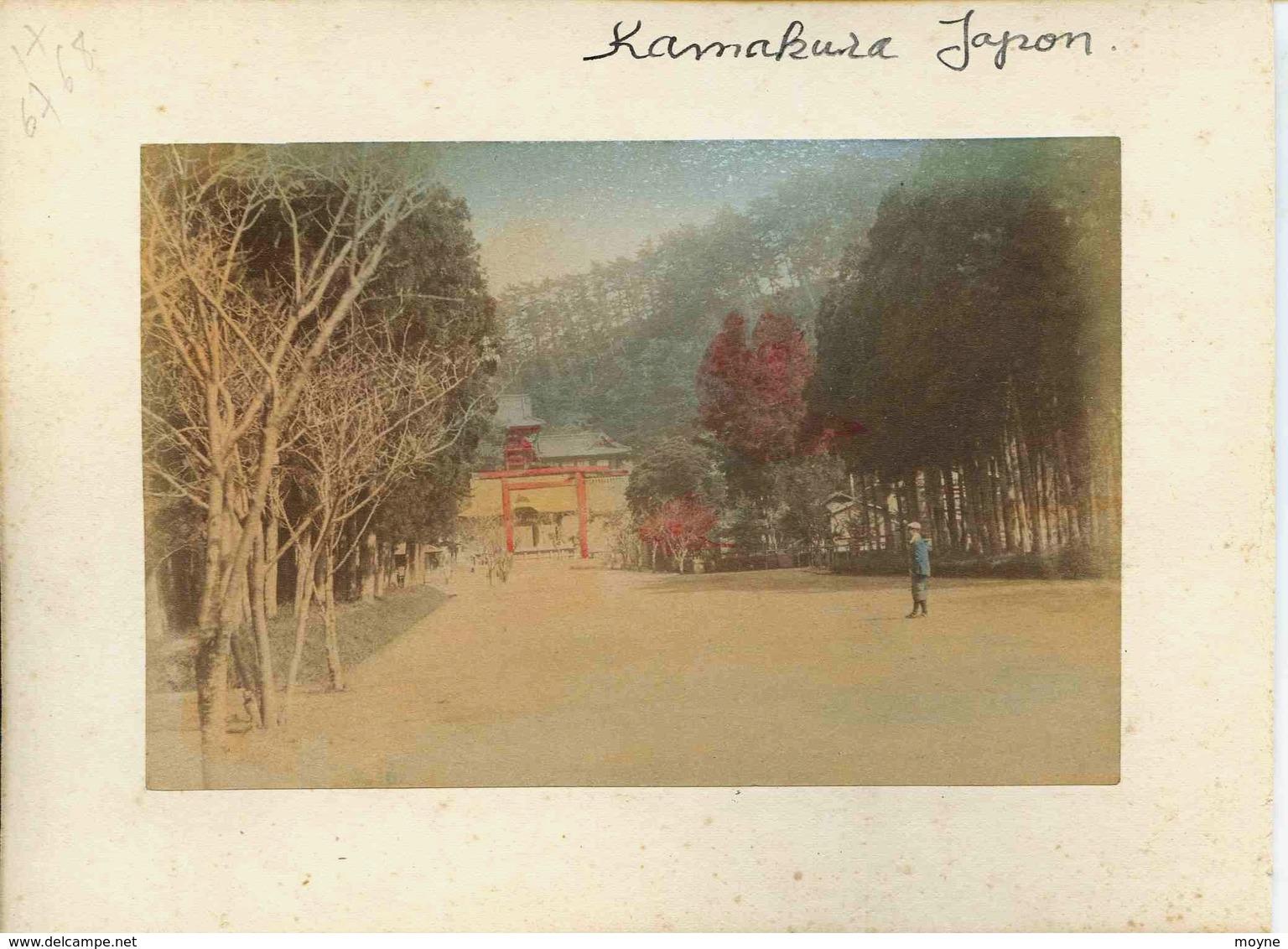 17 -  2 Photos Du Japon 19e - METIER 1)  TRIAGE DU THE   2)  KAMAKURA JAPON   Papier Albuminé Et Aquarellé - Photographs