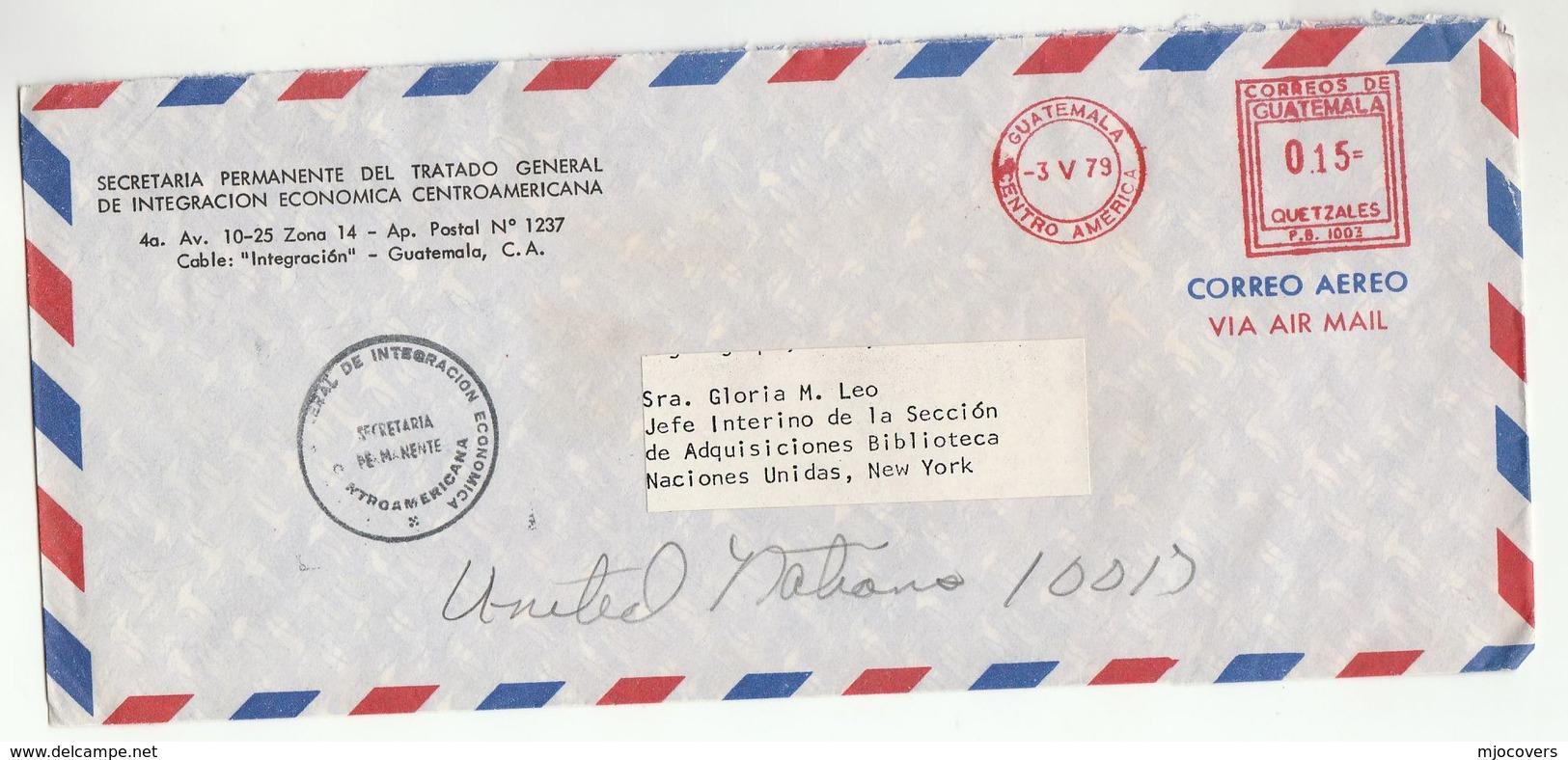 1979 GUATEMALA Permanent Sec. Gen. Treaty Central American Economic Integration COVER Meter To UN USA United Nations - UNO