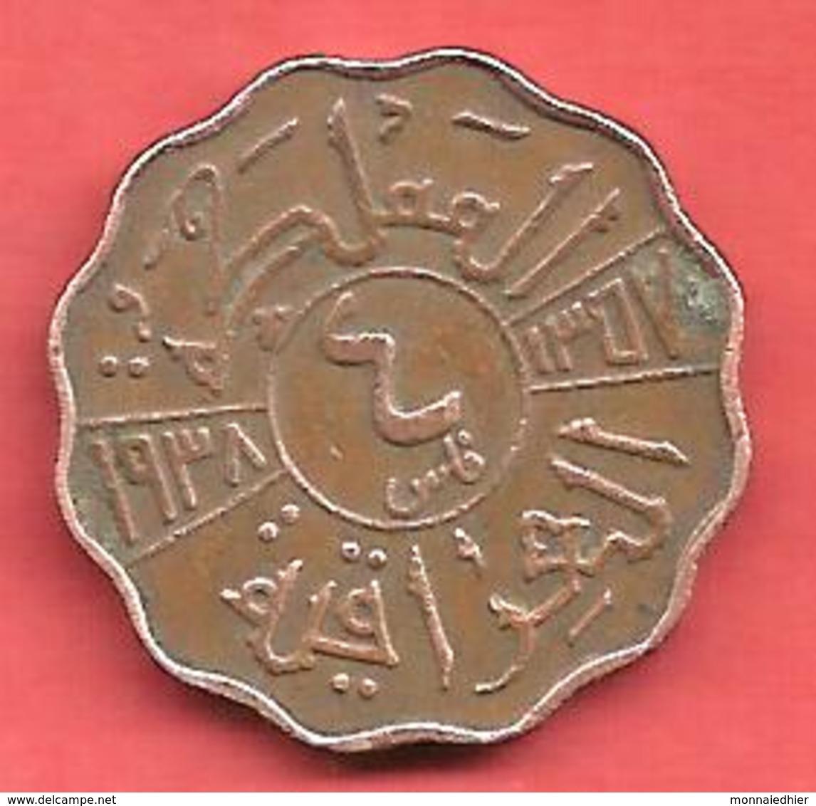 4 Fils , IRAC , Bronze , 1938 , N° KM # 105b - Iraq