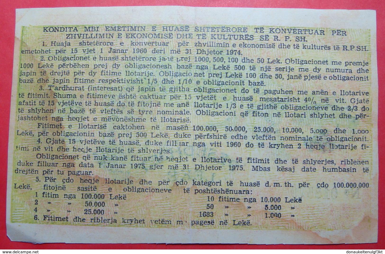 ALBANIA 50 LEKE 1960 KP No 018570, RARE ERROR - Albanie