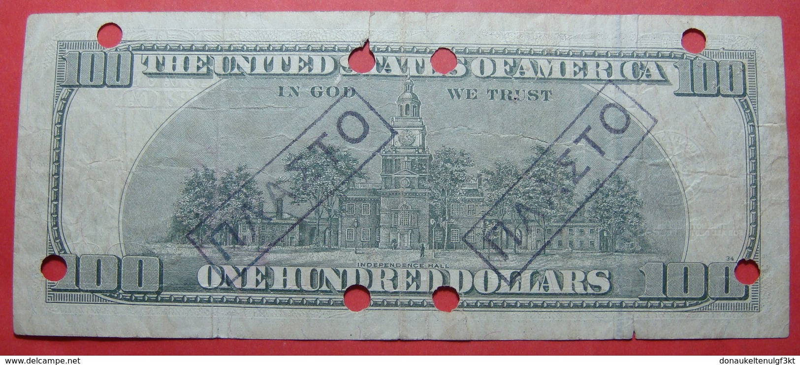 USA 100 DOLLARS 1996 FORGERY, CANCELLED FROM NATIONAL BANK OF GREECE, RRR - Erreurs