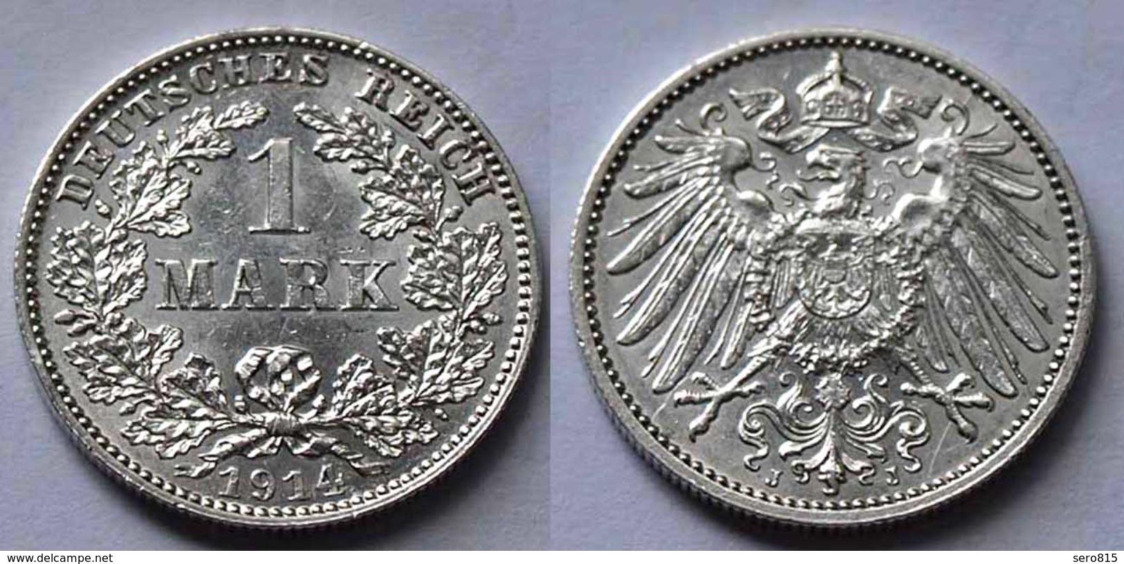 1 Mark Jäger 17 Silber Münze Großer Adler 1914 J Kaiserreich  (22014 - [ 2] 1871-1918: Deutsches Kaiserreich