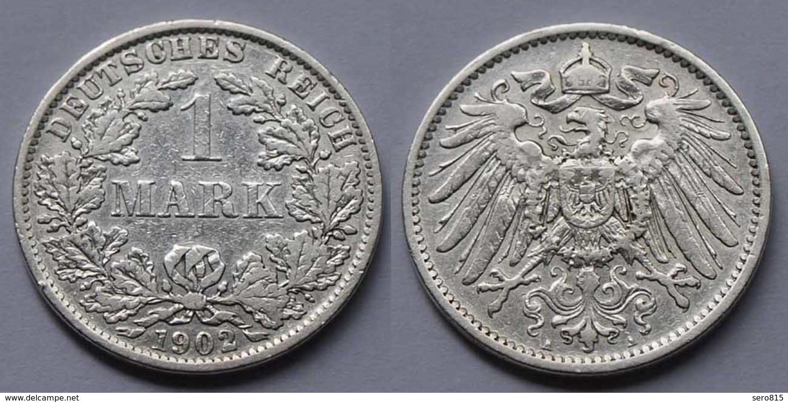 1 Mark Jäger 17 Silber Münze Großer Adler 1902 A Kaiserreich  (22006 - [ 2] 1871-1918: Deutsches Kaiserreich