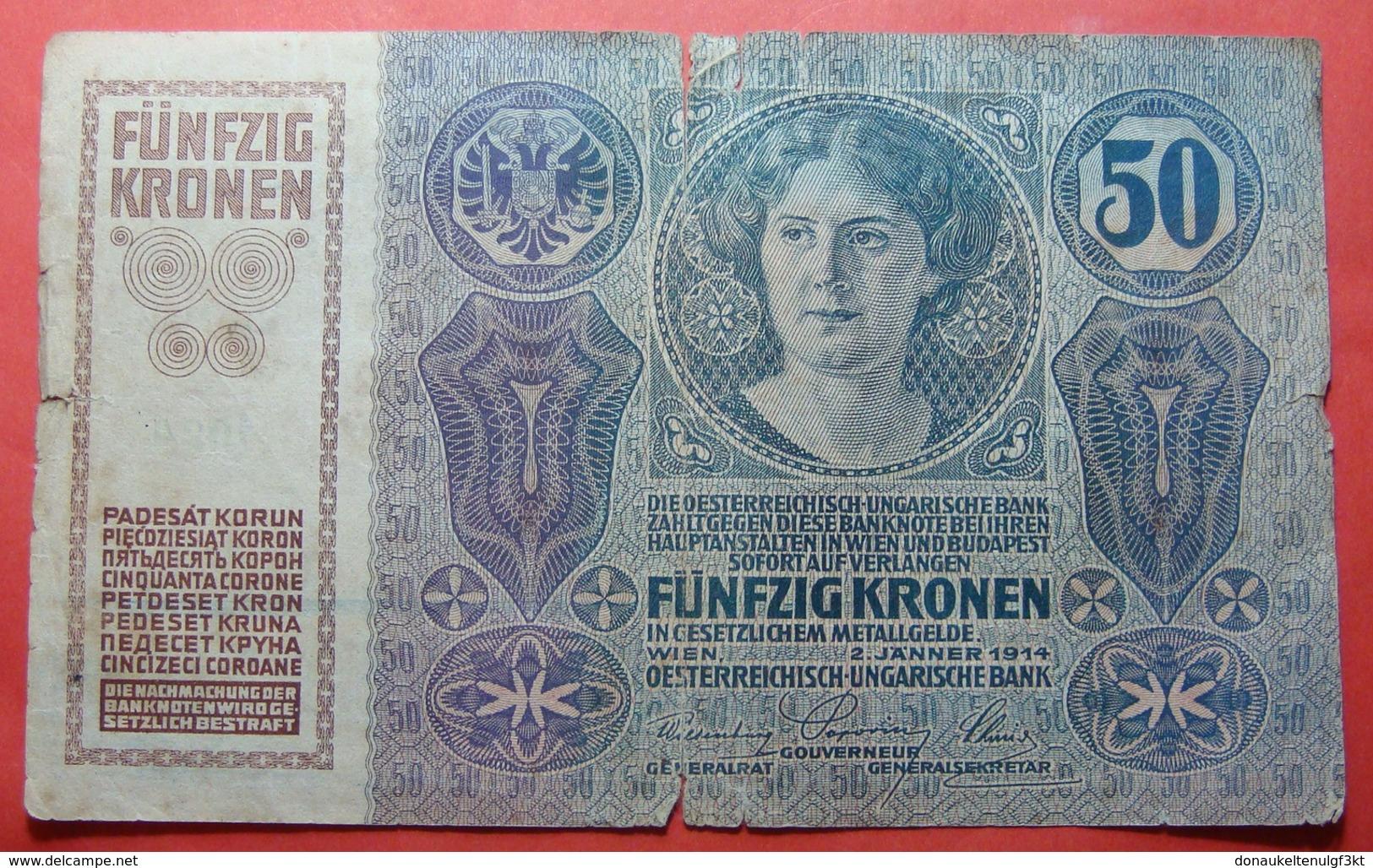 AUSTRIA 50 KRONEN 1914, Serial Number: 703932 - 1024 - Autriche