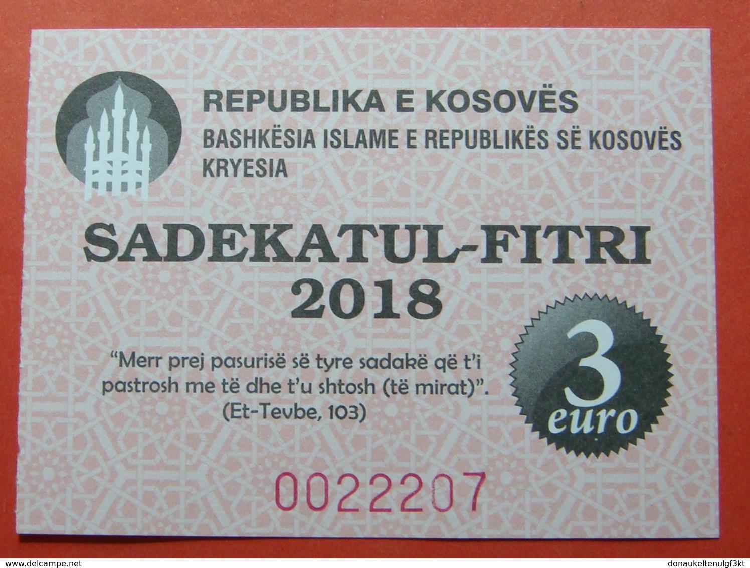 US PROTECTORATE, ISLAMIC STATE OF KOSOVO, 3 EURO 2018 SADAKA RAMADAN BON - Etats-Unis