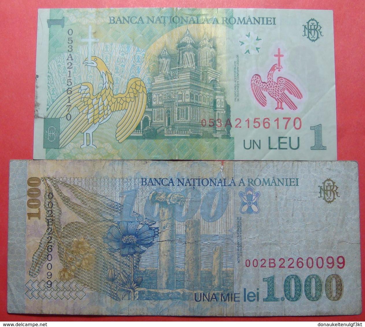 ROMANIA LOT X 2 BANKNOTES, 1 + 1000 LEI - Roumanie