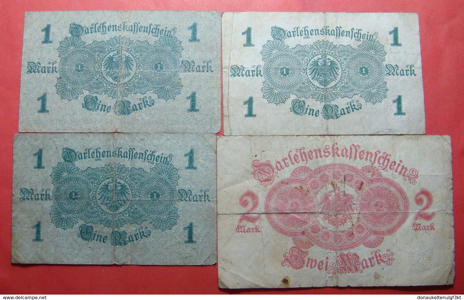 GERMANY LOT X 4 BANKNOTES, 3 X 1 MARK AND 2 MARK - [ 3] 1918-1933 : République De Weimar
