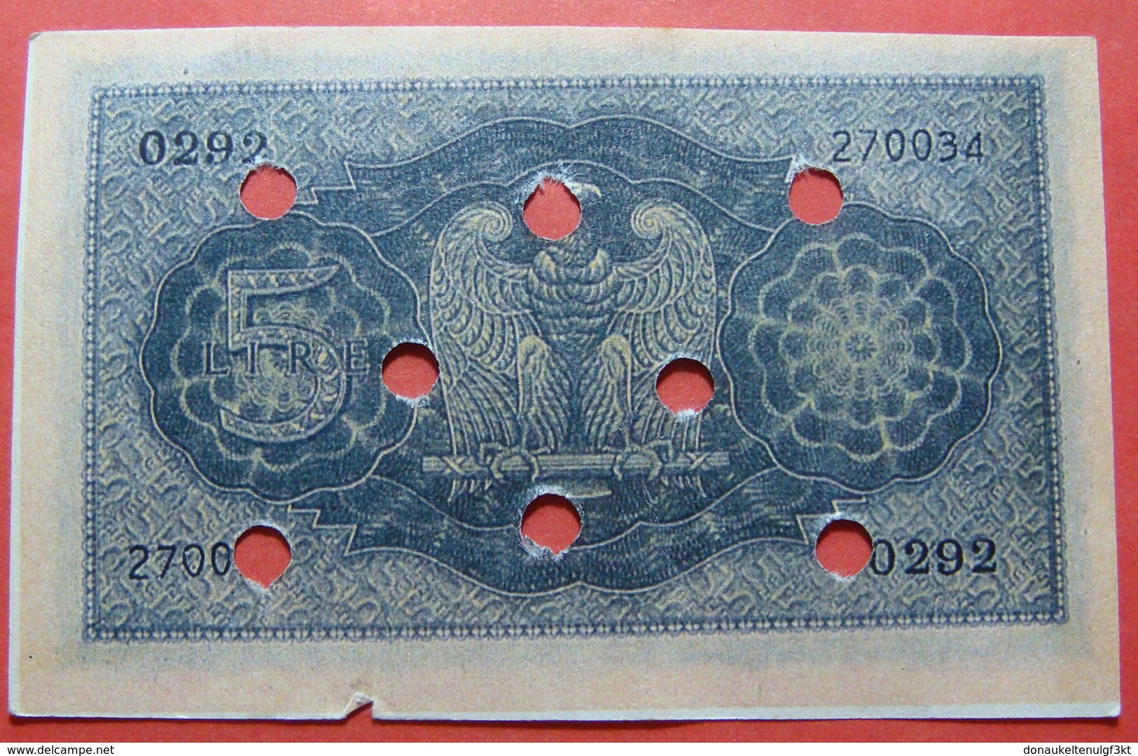 ITALIA 5 LIRE 1939 FORGERY, BANK CANCELLATION - [ 1] …-1946 : Royaume
