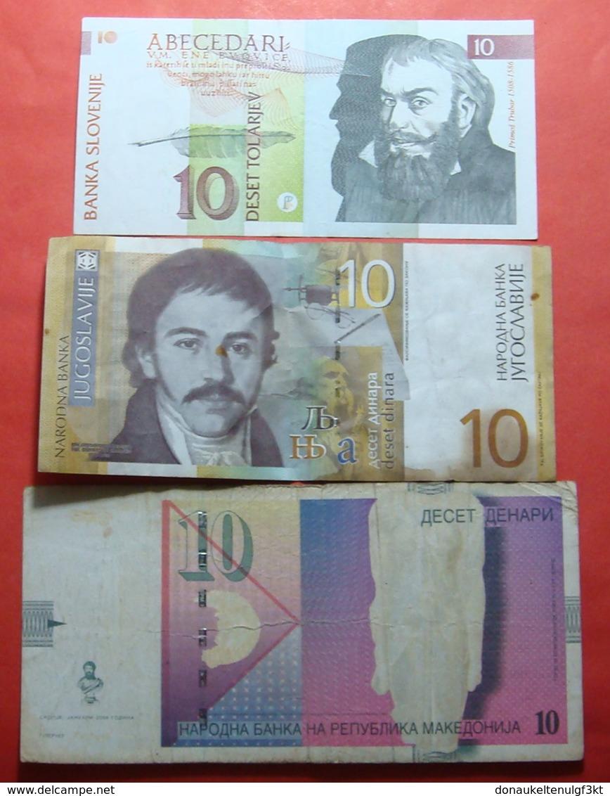 LOT 3 BANKNOTES, MACEDONIA, SERBIA AND SLOVENIA - Yougoslavie