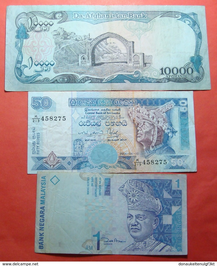 LOT X 3 MIDDLE EAST AND ASIA BANKNOTES. APHGANISTAN, SRI LANKA, MALAYSIA - Malaysie