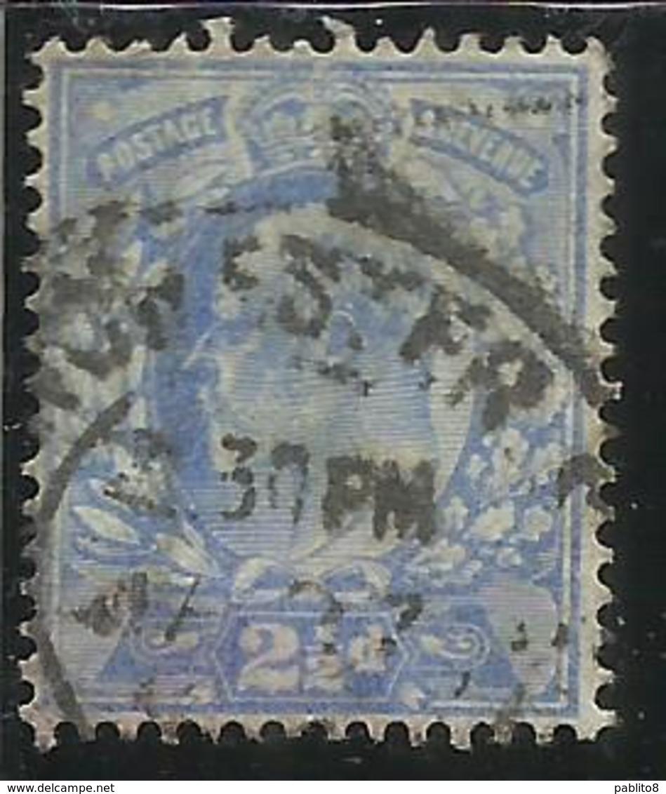 GREAT BRITAIN GRAN BRETAGNA 1902 1911 KING EDWARD VII TWO PENCE AND HALF 2 1/2p USATO USED OBLITERE' - 1902-1951 (Re)