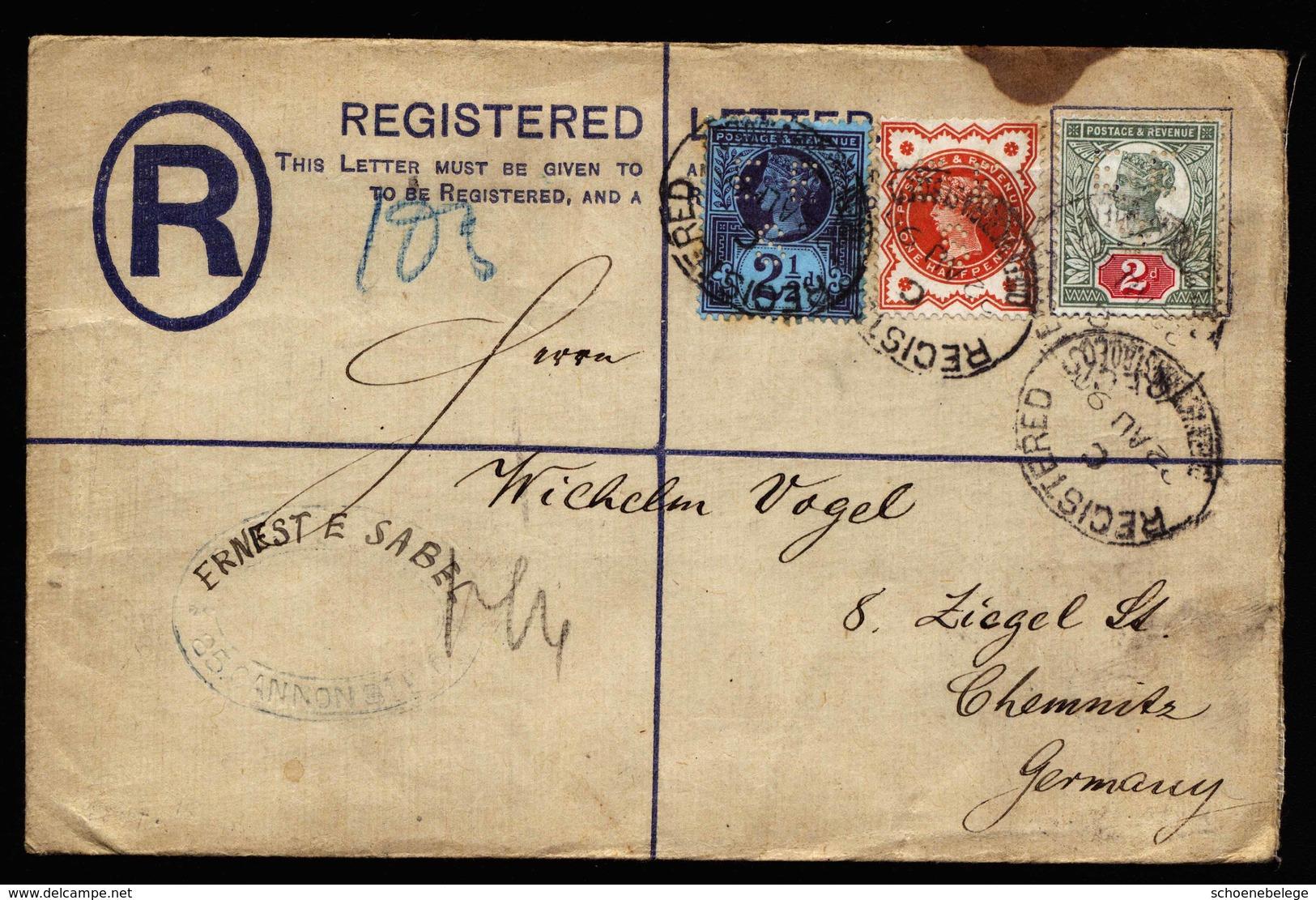A5892) UK R-Brief Mit 3-Farben-Frankatur 22.08.90 Mit Perfins - Briefe U. Dokumente