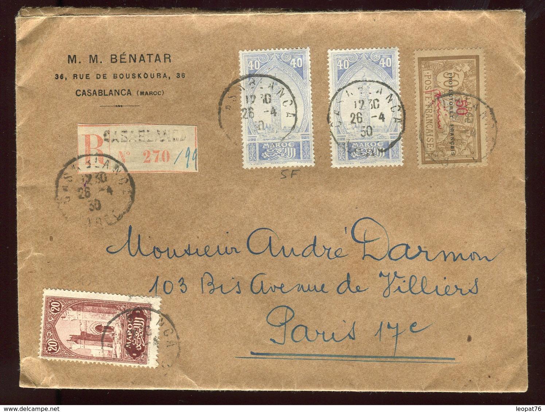 Maroc - Enveloppe En Recommandé De Casablanca En 1930 Pour Paris - Prix Fixe - Réf F57 - Marokko (1891-1956)