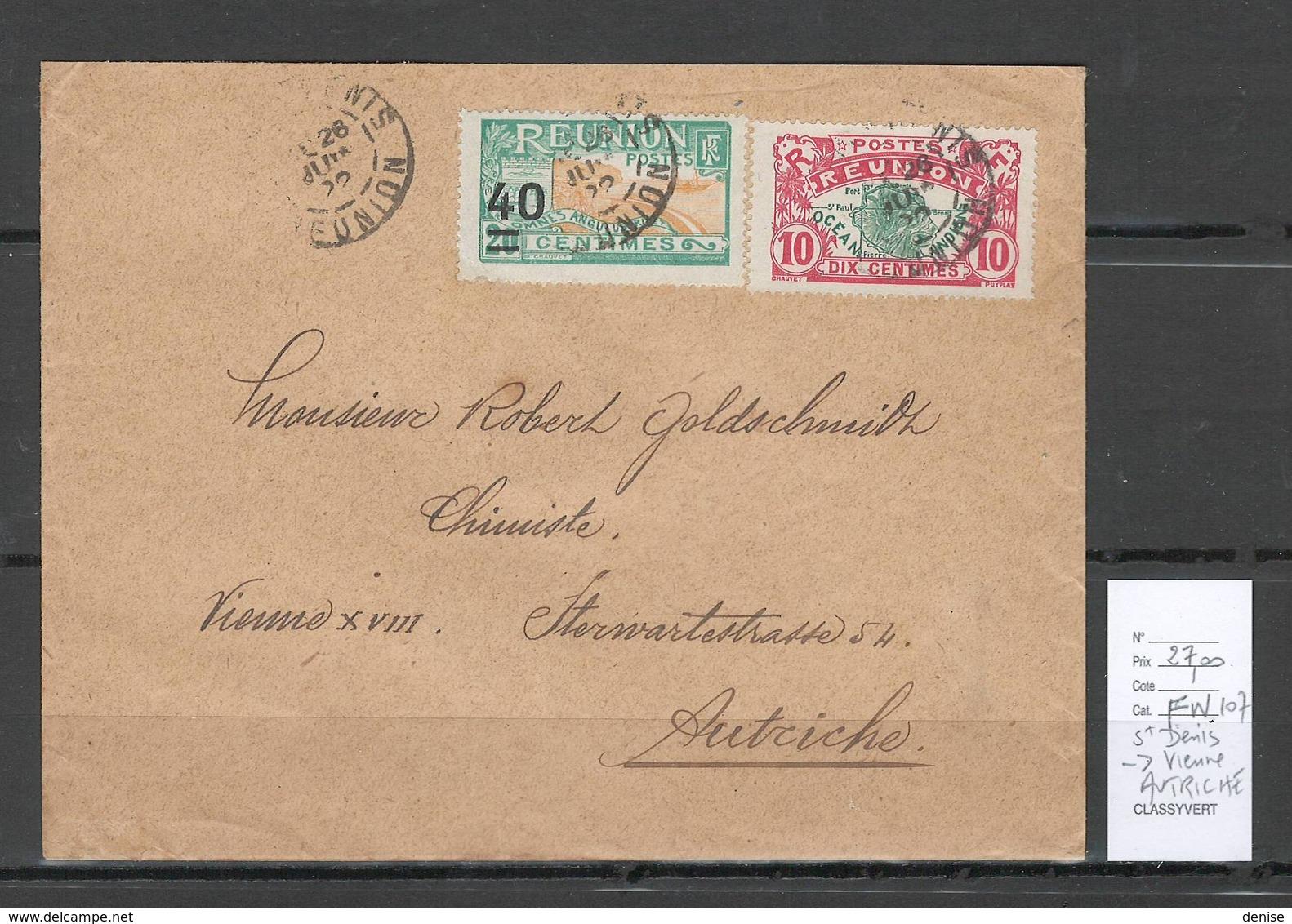 Reunion - Lettre Saint Denis Pour Vienne - Autriche - 1922 - Reunion Island (1852-1975)