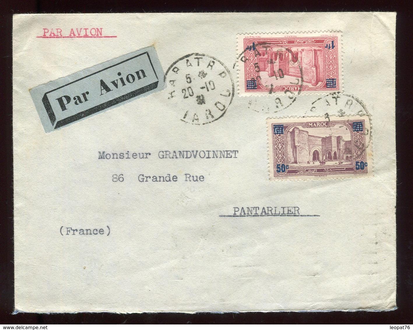 Maroc - Enveloppe Par Avion De Rabat Pour Pontarlier En 1931 Via Marseille - Prix Fixe - Réf F74 - Briefe U. Dokumente