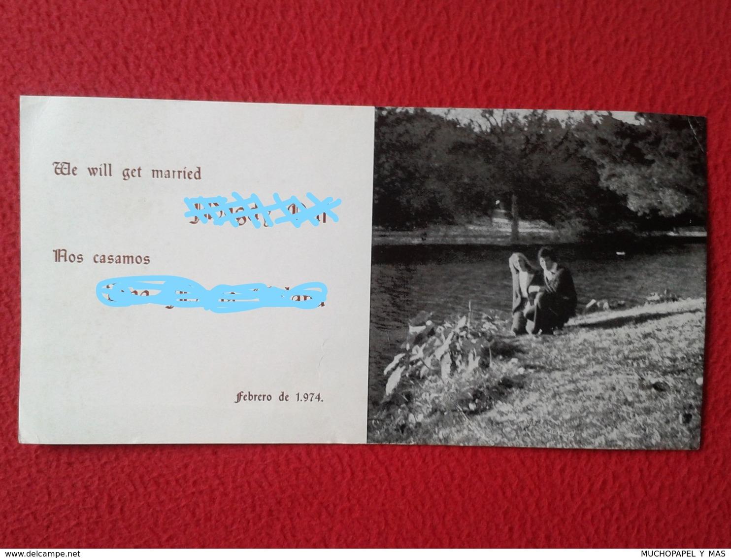 SPAIN ? GREAT BRITAIN ? TARJETA DE BODA CARD WEDDING CARTE DE MARIAGE 1974 WE WILL GET MARRIED NOS CASAMOS VER FOTOS Y D - Boda