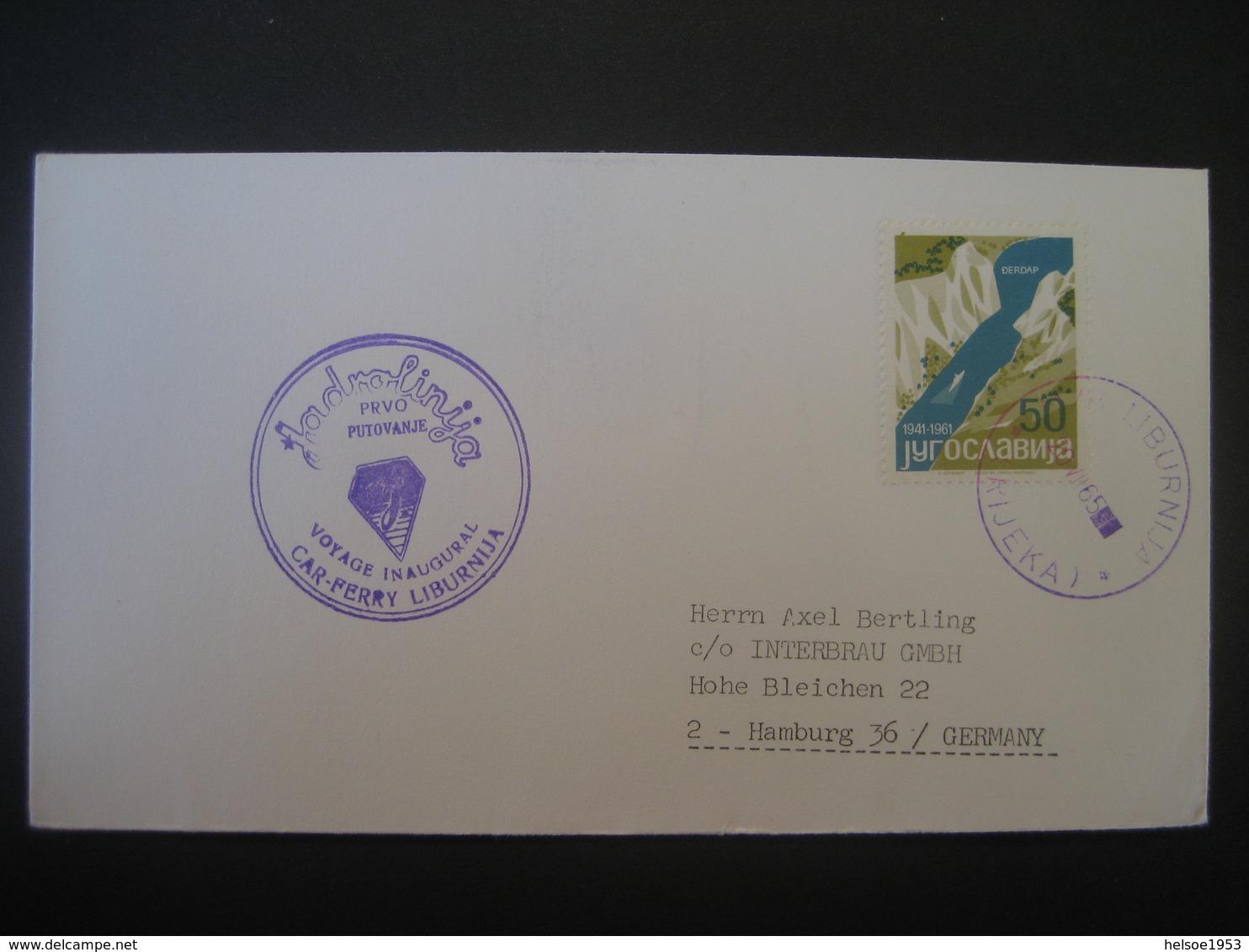 Jugoslawien- 1965 Rijeka Voyage In Augural, Car-Ferry Liburnija - 1945-1992 Sozialistische Föderative Republik Jugoslawien