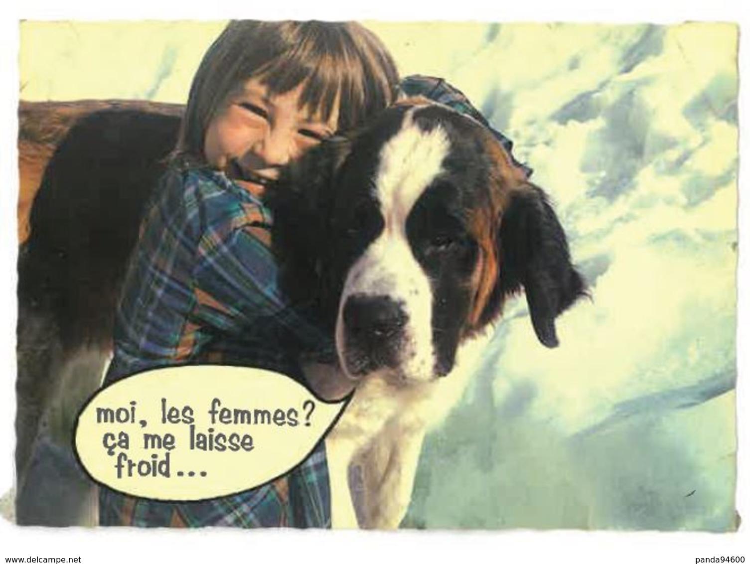 CP Humour Chien Dans La Neige Moi Les Femmes ça Me Laisse Froid - Humor