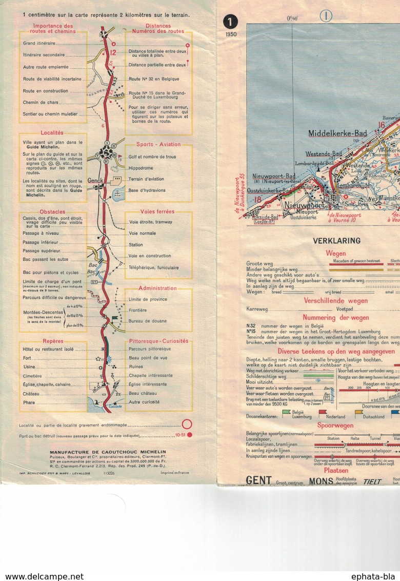 Anvers-Rotterdam. Cartes Michelin. 1950 - Cartes Routières