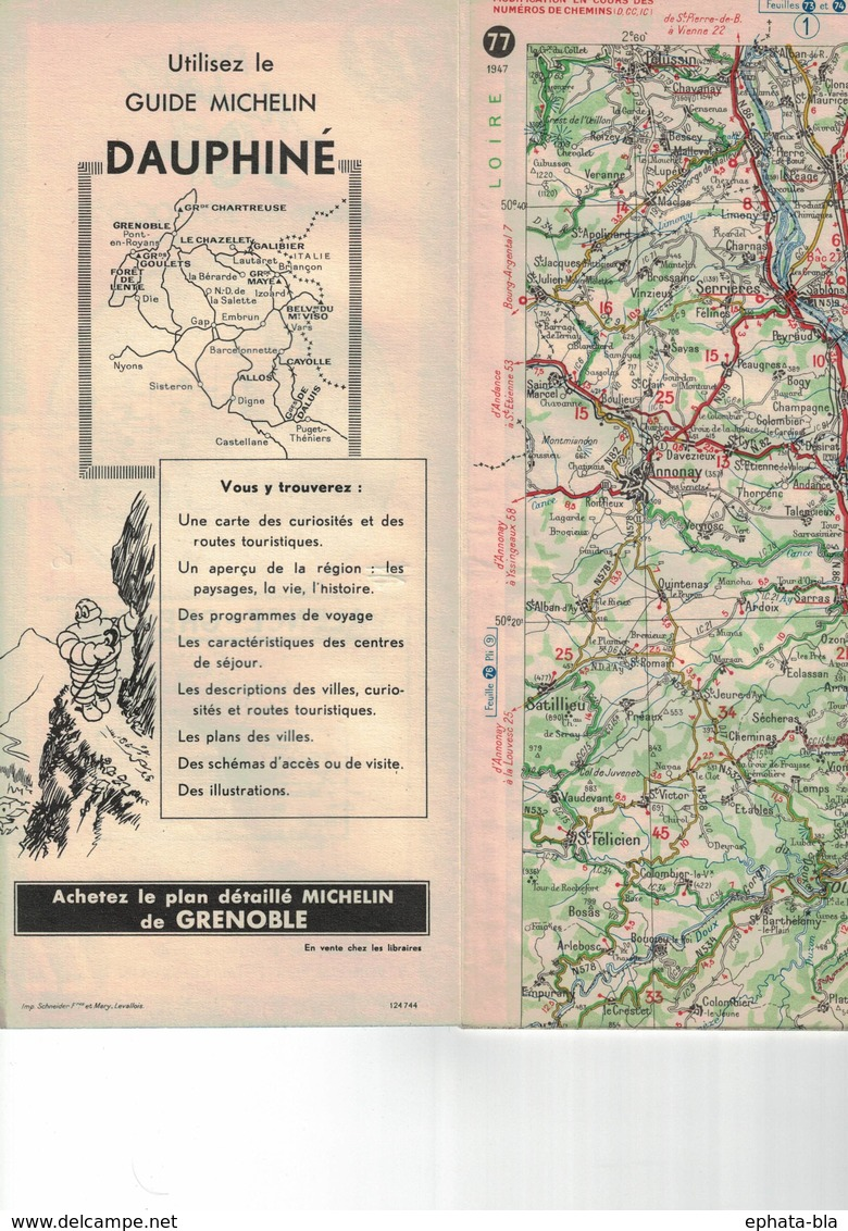 Valence-Grenoble. Cartes Michelin. 1947. - Cartes Routières