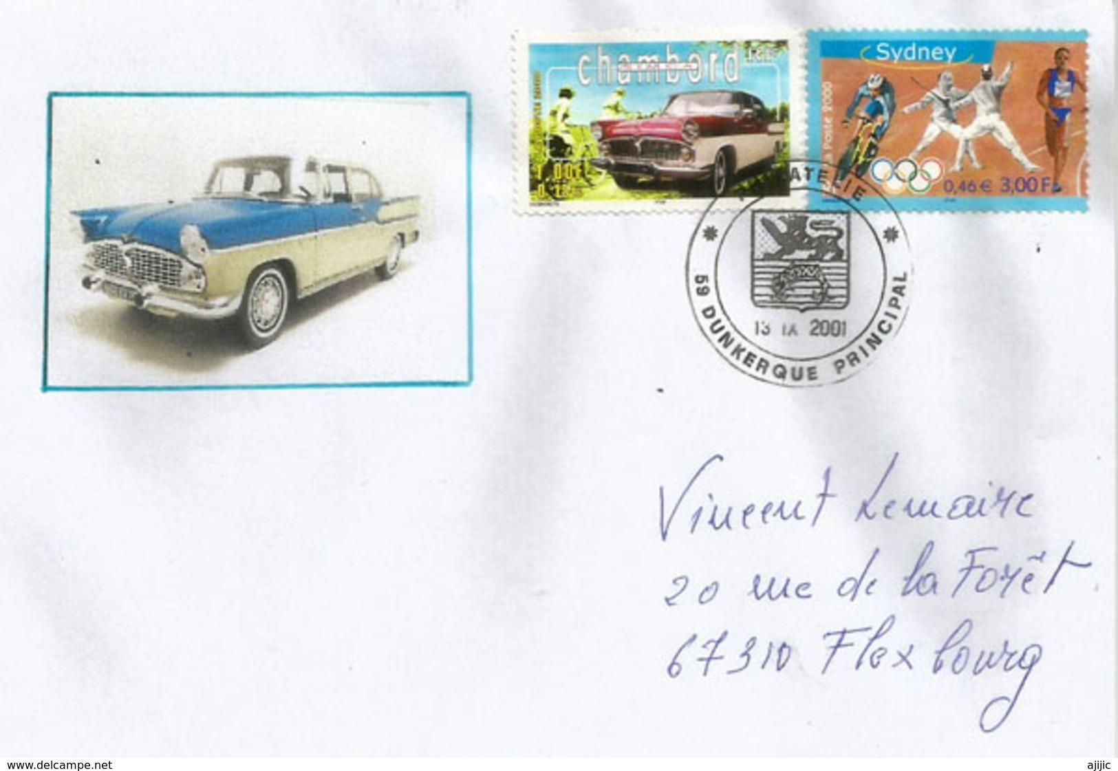 FRANCE, Voiture Simca Chambord, Sur Lettre De Dunkerque - Voitures