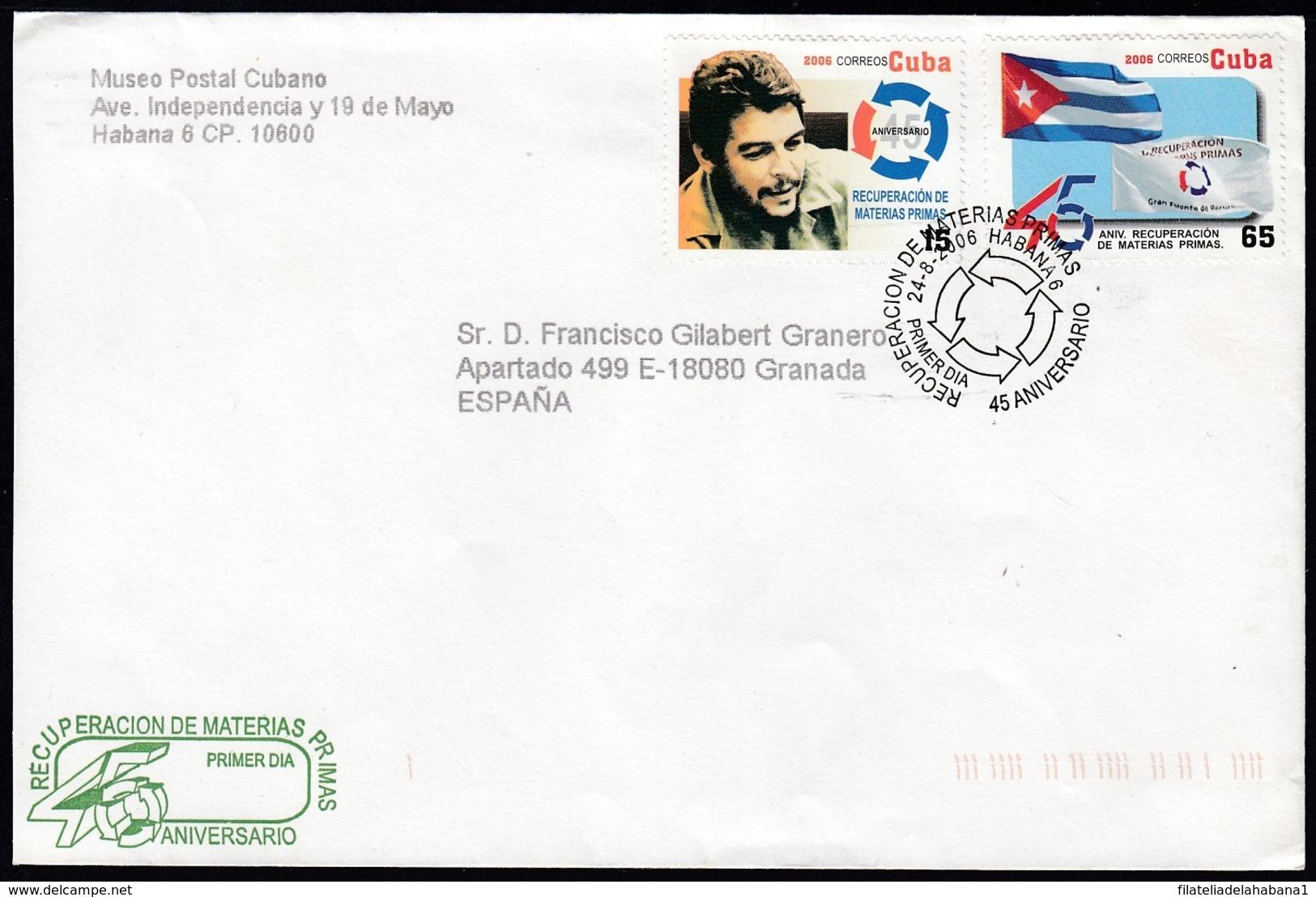 2006-FDC-128 CUBA FDC 2006. REGISTERED COVER TO SPAIN. MATERIAS PRIMAS, ERNESTO CHE GUEVARA. - FDC