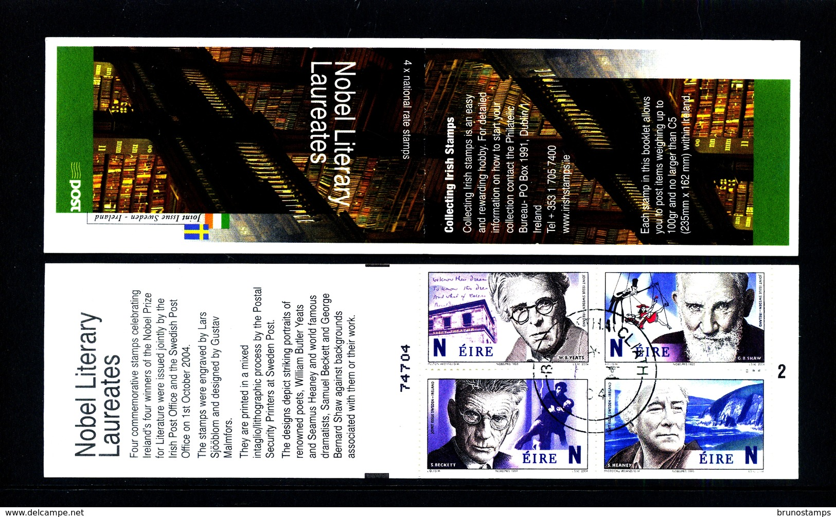 IRELAND/EIRE - 2004  NOBEL LITERARY LAUREATES  BOOKLET   FINE USED FDI CANCEL - Libretti