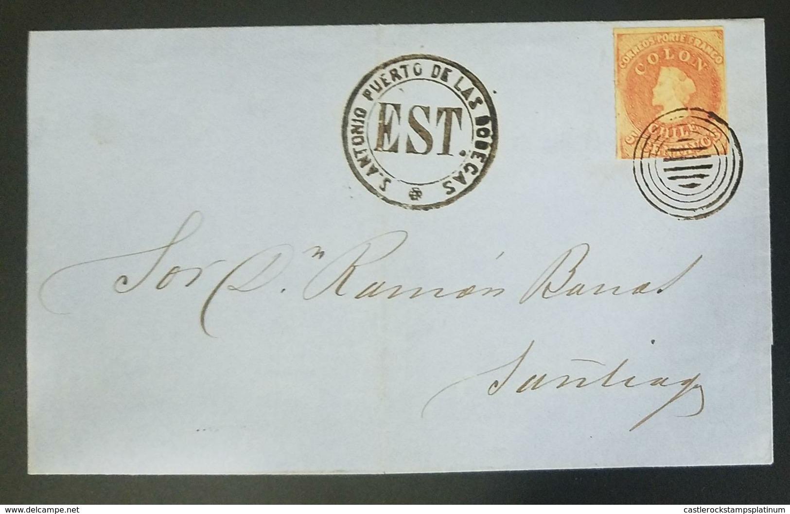 O) 1864 CHILE, ESTAFETA-EST -CHRISTOPHER COLUMBUS 5c-LONDON PRINTS- SAN ANTONIO PUERTO DE LAS BODEGAS-TO SANTIAGO, PERFE - Chile