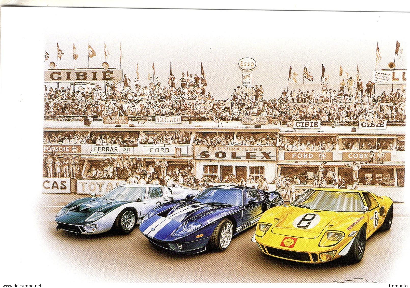 'Fabulous Ford'  -  Ford GT   - Tableau De Francois Bruere (Art Card)  -  CPM - Le Mans