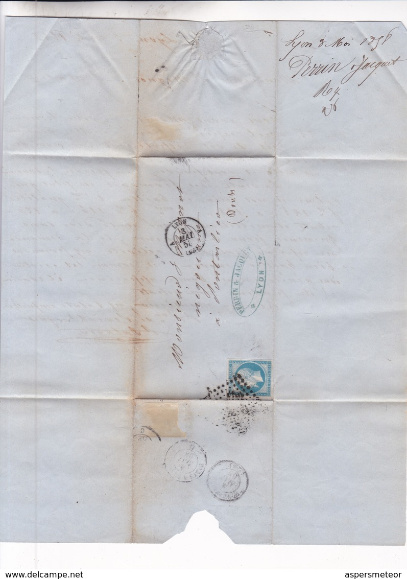 ENVELOPPE ANN 1858 CIRCULEE LYON A PONTARLIER (DOUBS) FULL CONTENT INSIDE AUTRES MARQUES - BLEUP - 1853-1860 Napoléon III