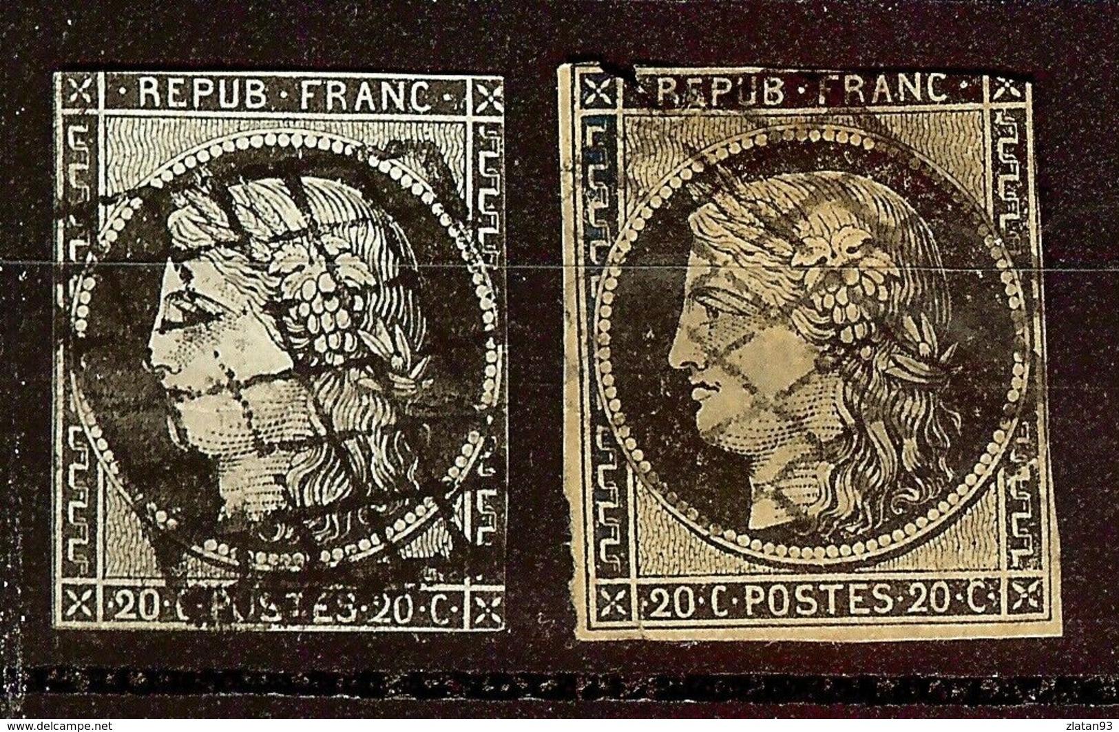 LOT 2 CERES N°3 & 3a 20c Noir / Jaune & Blanc Oblit GRILLE Cote 125 Euro - 1849-1850 Ceres