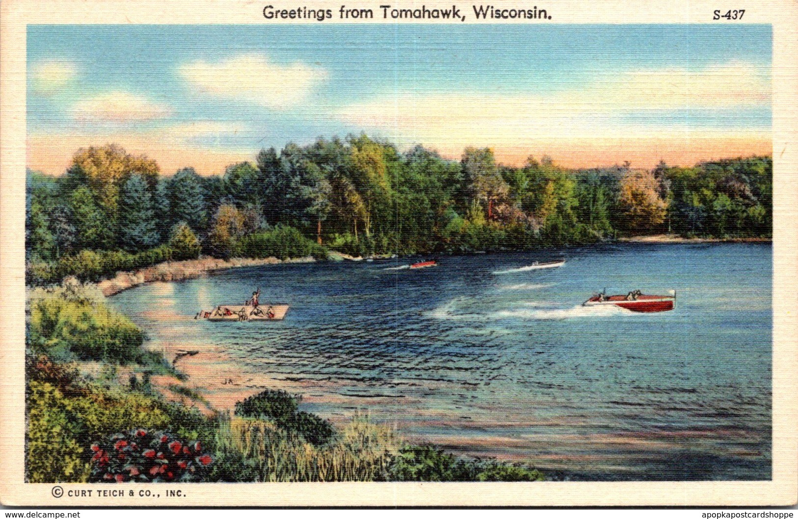 Wisconsin Greetings From Tomahawk Curteich
