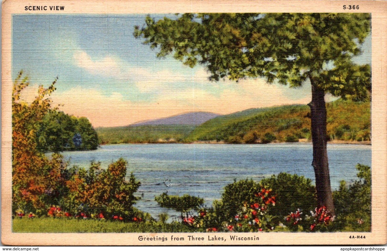Wisconsin Greetings From Three Lakes 1945 Curteich