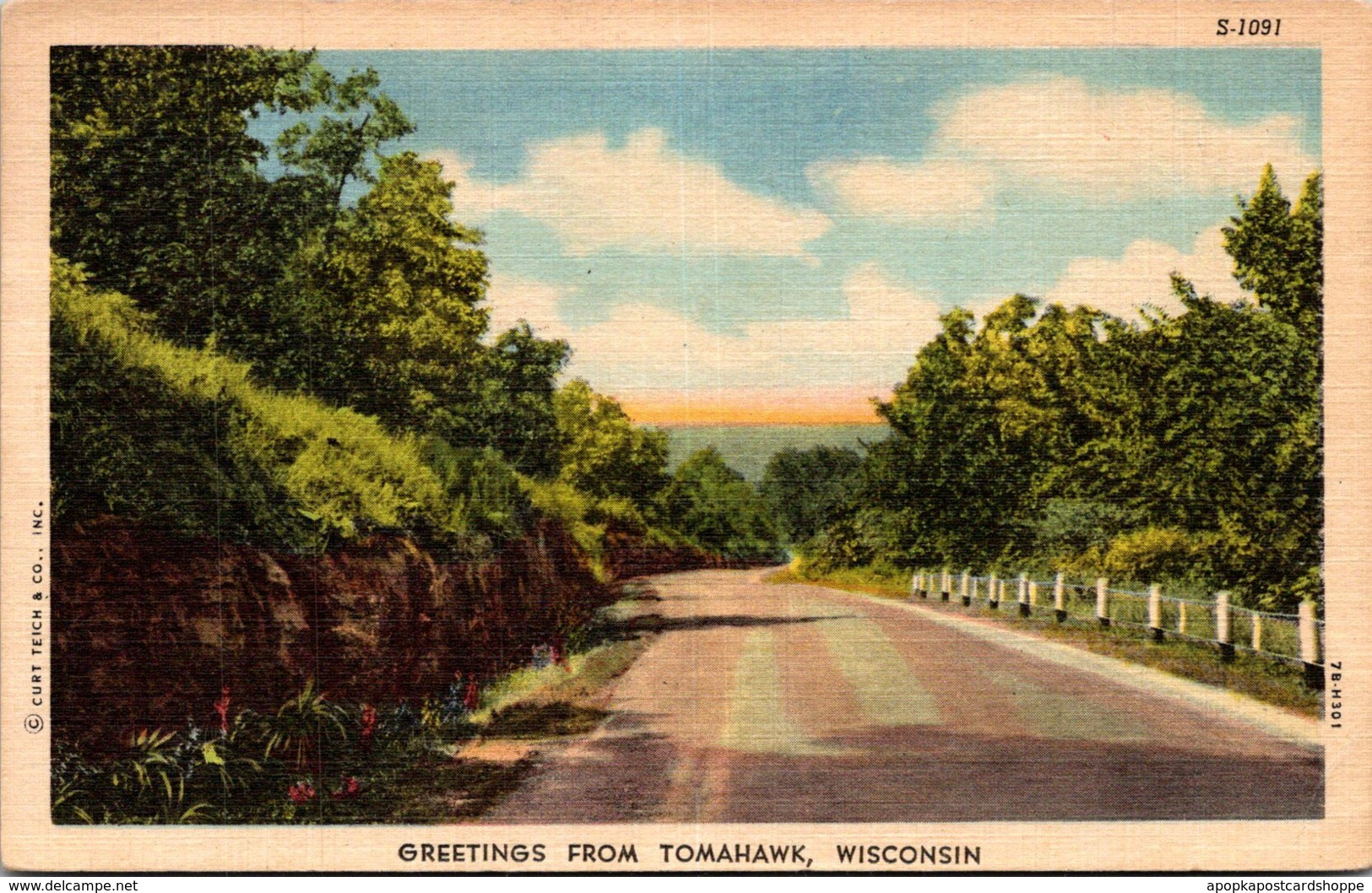 Wisconsin Greetings From Tomahawk 1956 Curteich