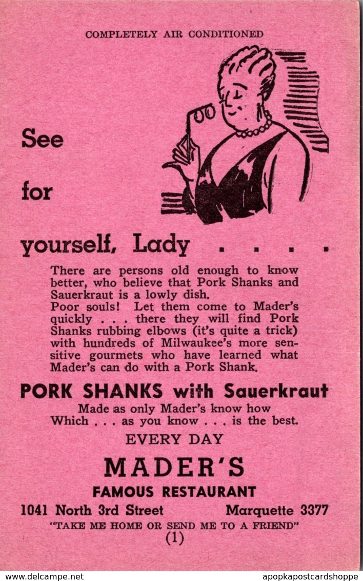 Wisconsin Milwaukee Mader's Famous German Restaurant Pork Shanks With Sa...