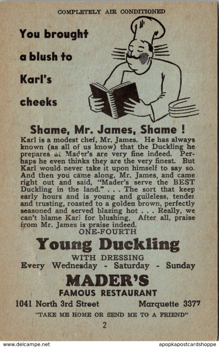 Wisconsin Milwaukee Mader's Famous German Restaurant Young Duckling With...