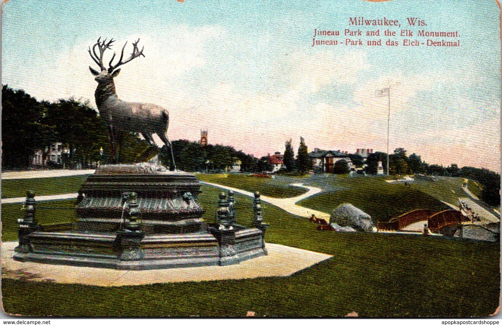 Wisconsin Milwaukee Juneau Park and Elk Monument