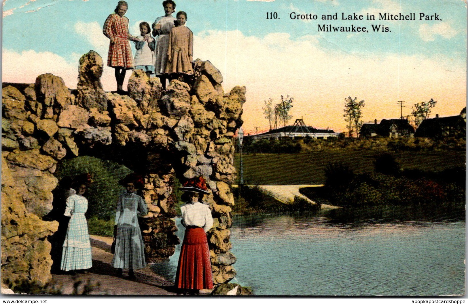 Wisconsin Milwaukee Mitchell Park Grotto and Lake 1913