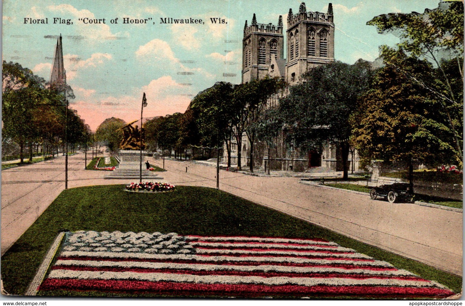 Wisconsin Milwaukee Floral Flag Court Of Honor 1921