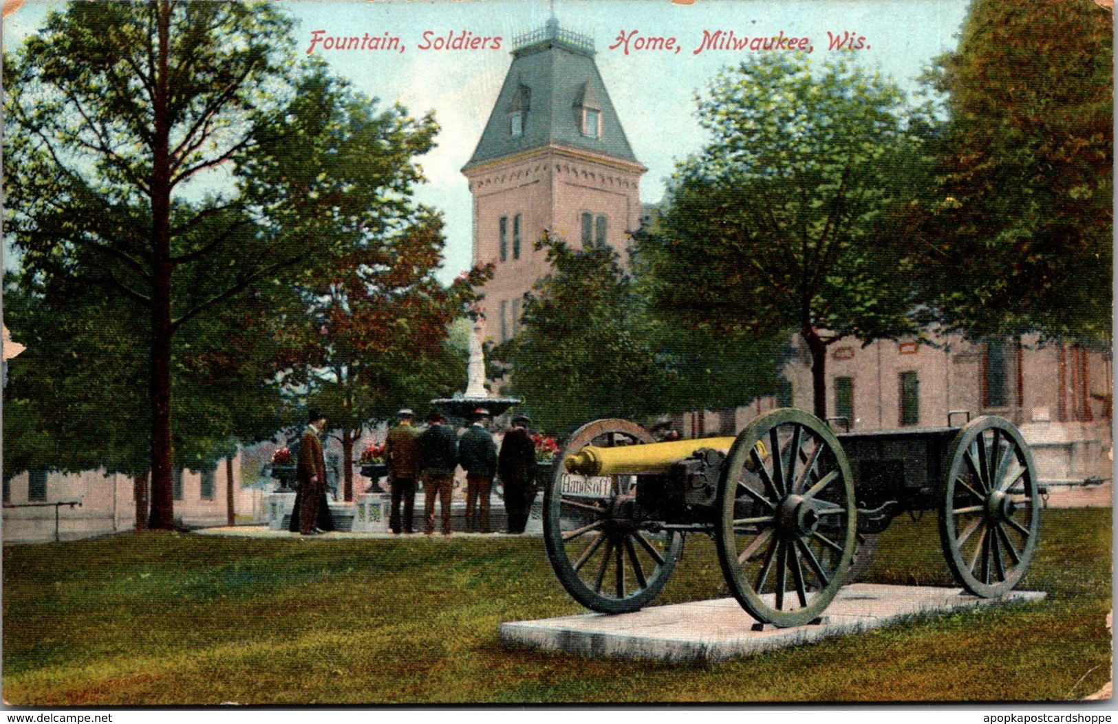 Wisconsin Milwaukee Soldiers Home Fountain & Cannon 1910