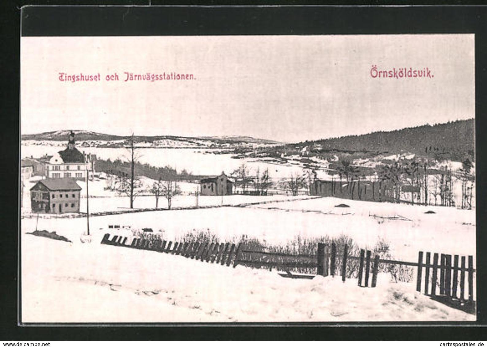 AK Örnsköldsvik, Tingshuset Och Järnvägsstationen - Zweden