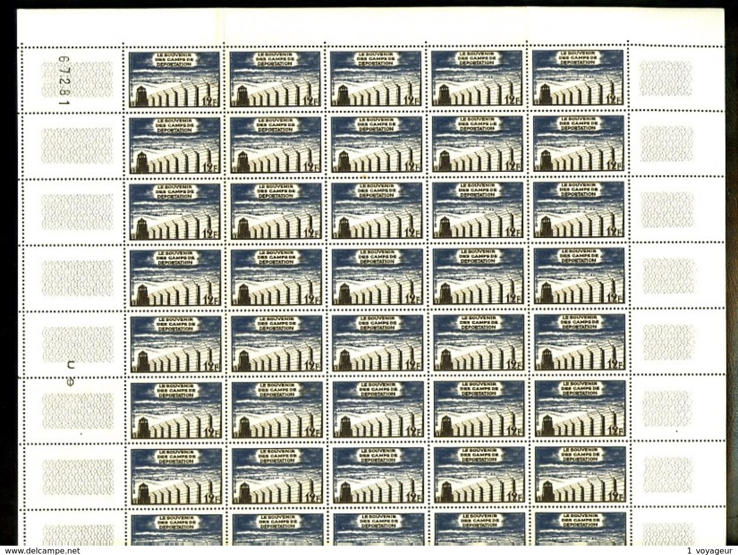 1023 - 12F Libération Des Camps - En Feuille Complète De 50 Exemplaires - Neufs N** - TB - Feuilles Complètes