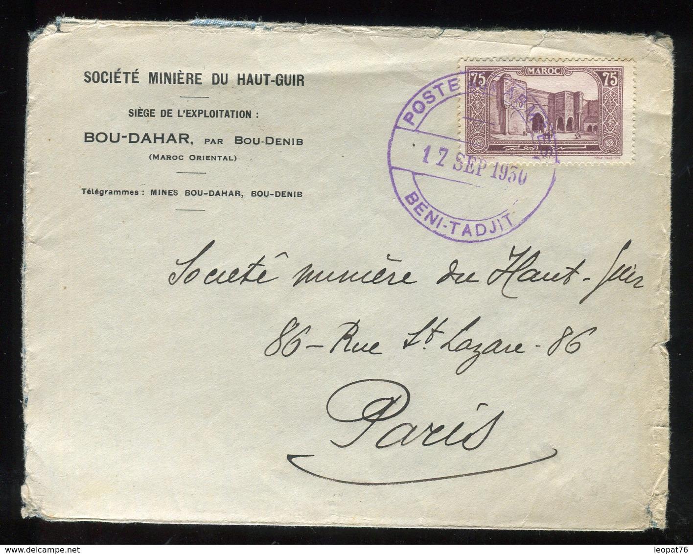 """Maroc - Oblitération """" Poste Aux Armées Beni-Tadjit"""" En Violet Sur Enveloppe En 1930 Pour Paris - Prix Fixe - Réf F94 - Morocco (1891-1956)"""