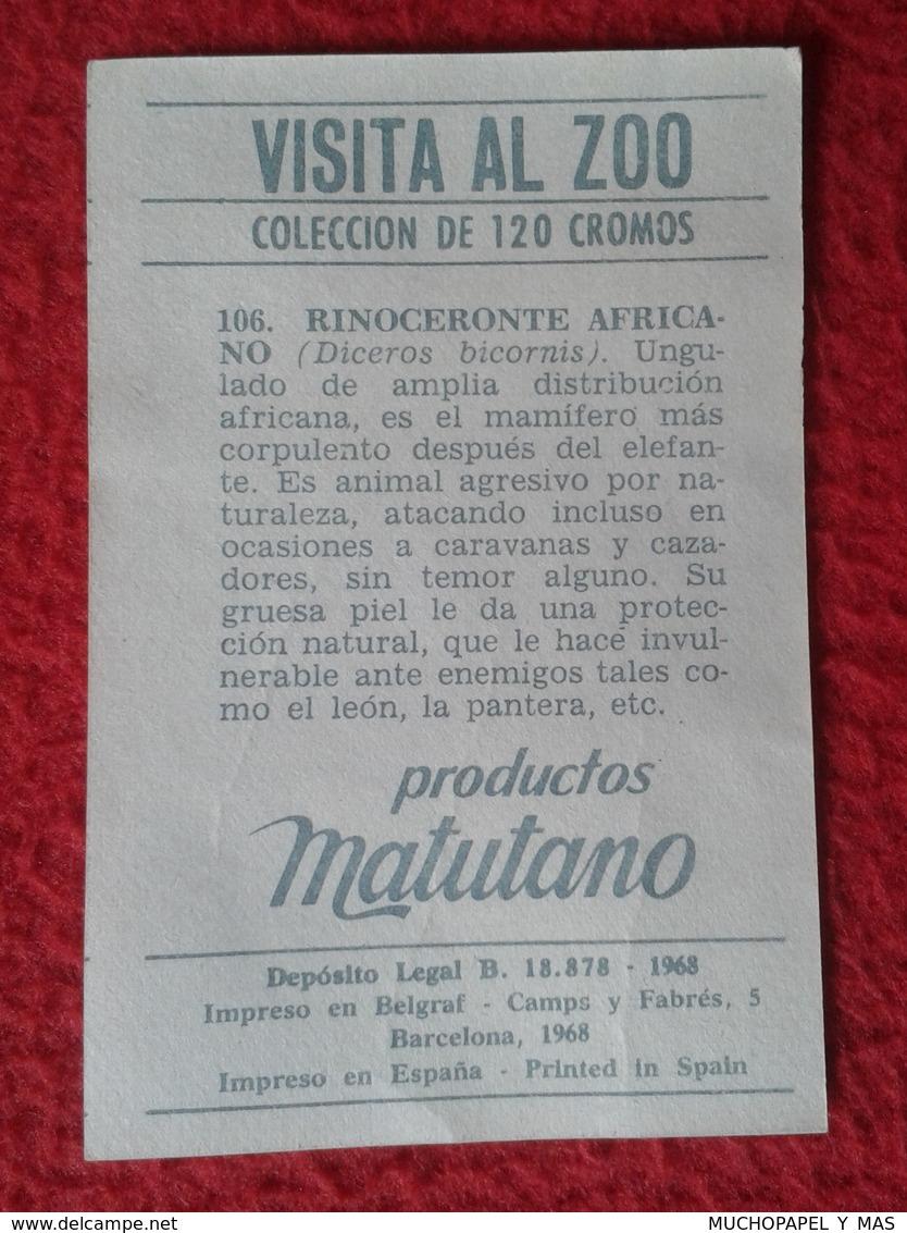 SPAIN ANTIGUO CROMO RARE OLD COLLECTIBLE CARD EL RINOCERONTE AFRICANO RHINO RHINOCEROS RHINOS RHINOCEROSES MATUTANO 1968 - Cromos
