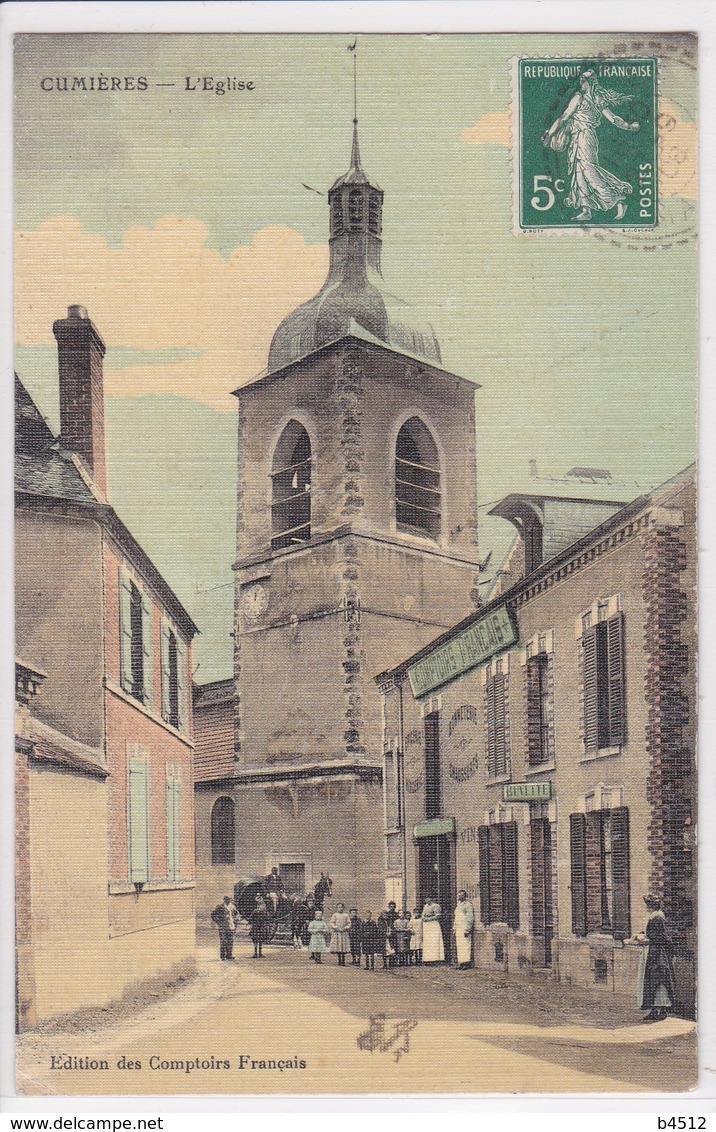 51 CUMIERES L'église Attelage Calèche Devant Magasin Comptoirs Français ,façade Café - France